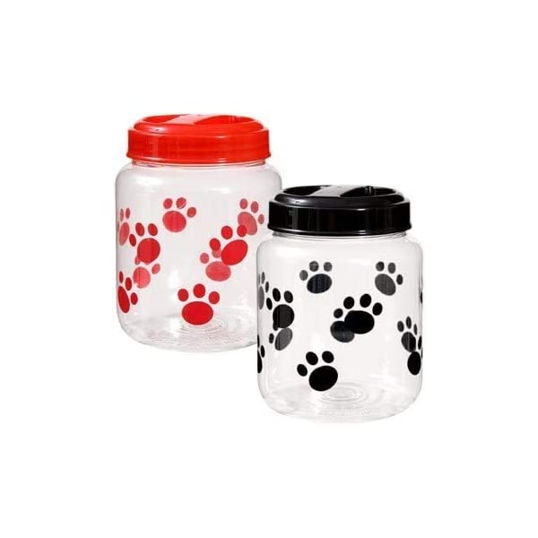 Cats BPA-Free Plastic Airtight Pet Treat & Food Storage Containers Canisters Black & Red Paw Print (Set of 2)