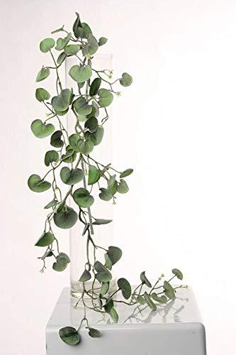 artplants.de Künstlicher Silberregen Hänger RONAS, 70 Blätter, grün-grau, 115cm - Künstliche Ranke - Deko Pflanze