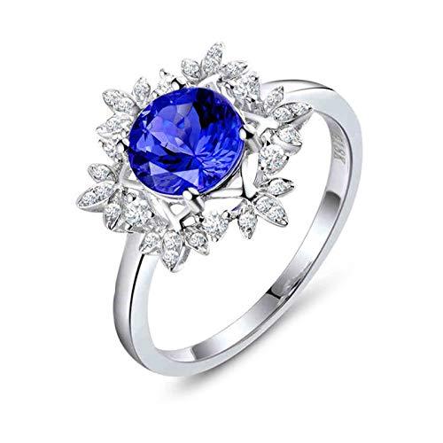 AnazoZ Anillo de Tanzanita Mujer,Anillo de Compromiso Oro Blanco 18 Kilates Mujer Plata Azul Flor con Redondo Tanzanita Azul 1.51ct Diamante 0.18ct Talla 13,5