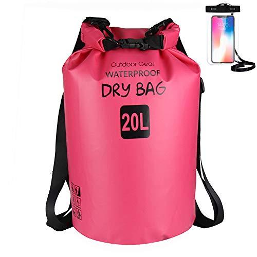 ZhaoCo Wasserdichter Packsack, 5L/10L/20L/30L wasserdichte Tasche Sack PVC Dry Bag für Kayaking, Bootfahrt, Kanufahren, Fischen, Rafting, Schwimmen, Kampieren, Snowboarding Wassersport (Fuchsie,20L)