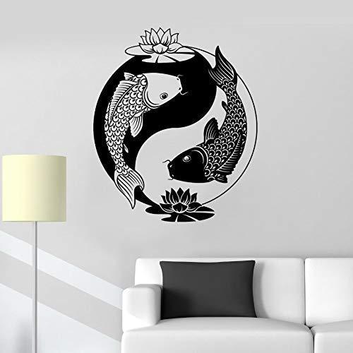 Tai Chi Zen Oosterse Patroon Goudvis Vinyl Mural Ontwerp Muursticker Thuis Fitness Room Decoratie Chinese Vis Decal 42X50Cm