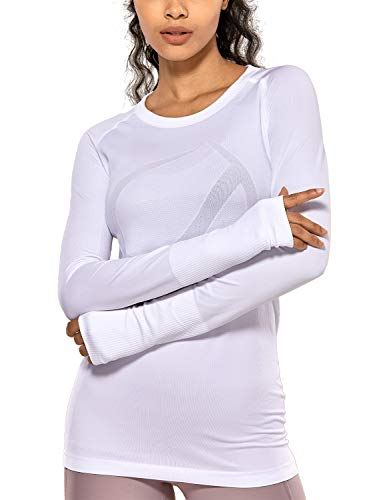 CRZ YOGA Women's Seamless Athletic Long Sleeves Sports Running Shirt Breathable Gym Workout Top White-Slim Fit L