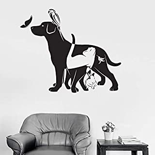 Animal Wall Decals Dog cat Bird Rabbit Butterfly pet Shop Vinyl Sticker Home Decoration