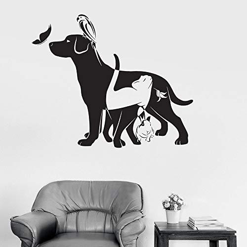 wopiaol Dier Muursticker Hond Kat Vogel Konijn Vlinder Huisdier Winkel Vinyl Window Stickers Kids Slaapkamer Kwekerij Speel Zone Home Decor