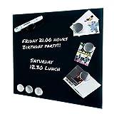 KawKaw stylische Glasmagnettafel Set 35 x 35 cm mit 6 Magneten, Marker und Markerhalterung zum Hammer Preis - Beschreibbare Glaspinnwand - Whiteboard magnetisch (Milchglas)