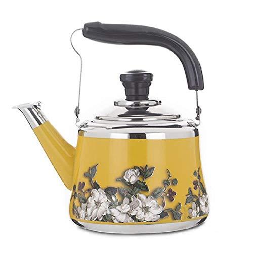 Acero inoxidable 1L-2.5L Whistling Tea Kettle Botella de fondo plano engrosada para bares familiares Fiestas Restaurantes Regalos, amarillo, 1.0L