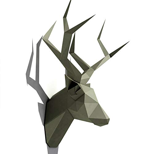 3D Animal Paper Wall Art Sculpture Home Decor Living Room Decor DIY Paper Craft Model Party Gift (Deer Head Silver)