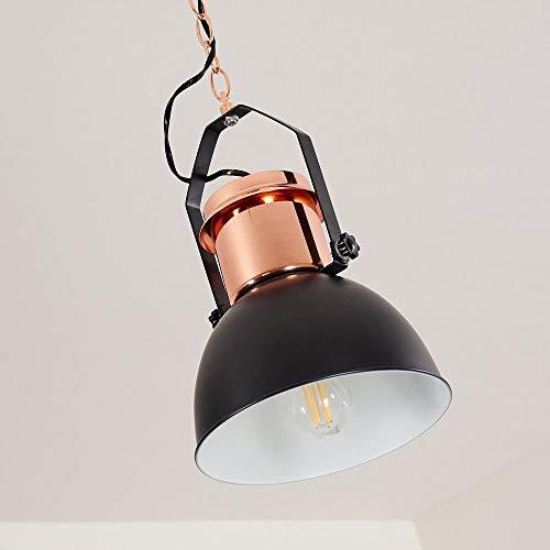 Hängelampe Fieberbrunn aus Metall in Schwarz/Roségold, Pendelleuchte m. schwenkbarem Leuchtenschirm im Industrial-Style, E27-Fassung, max. 60 Watt, Hängeleuchte Retro/Vintage-Design, LED geeignet