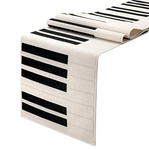KEY SPRING Piano Table Runner(12 X 72 inch) for Wedding Table Decor, Bridal Shower, Birthday Party, Housewarming Gift, Dining Room, Cotton & Linen