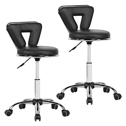 Yaheetech Hydraulic Rolling Swivel Salon Stool Chair Height Adjustable Home Spa Massage Manicure Facial Stool with Backrest and Wheels Black - 2PCS