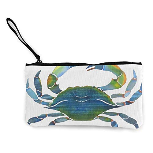 Yuanmeiju Unisex Funny Cap Blue Crab Zipper Canvas Coin Purse Wallet, Make Up Bag, Cellphone Bag with Handle