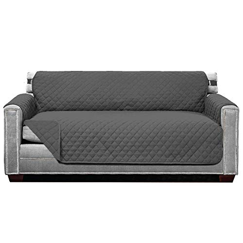 Sofa Shield Original Patent Pending Reversible Small Sofa Protector, Seat Width to 62 Inch, Many Colors, Furniture Slipcover, 2 Inch Strap, Couch Slip Cover Throw for Pet Dogs, Cats, Charcoal