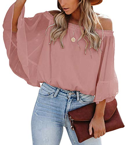 SENSERISE Womens Off The Shoulder Tops Casual Loose Chiffon Bell Sleeve Blouse Shirts(Pale Mauve,XL)