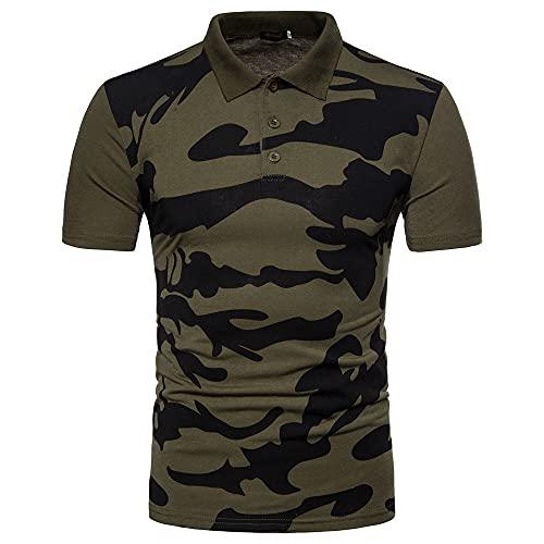 JELLYB Polo Shirt Hombre Slim Fit Moderno Hombre Deportiva Camisa Cuello V Cuello Kent Camisa Básica Elástica Correr Shirt Business Causal Wicking Transpirable Camuflaje T-Shirt C-Green XL