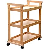 Hand Truck/Red Oak Universal Wheel Simple Three Layer Oil Cart/Painting Platform Picture Cabinet/Oil Painting Frame Art Supplies Four Rounds Painting Car/Load 30 Kg