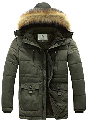 WenVen Men's Hooded Warm Coat Winter Parka Jacket (Army Green, Large)