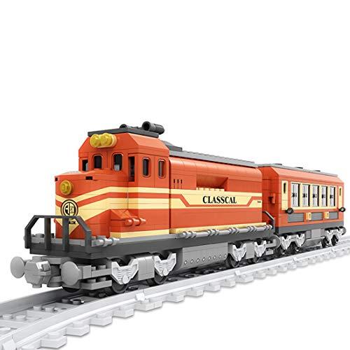Ditzz Zug Eisenbahn Bausteine, Zug Modell Bauset, Konstruktionsspielzeug Kompatibel mit Lego, 379+Teile