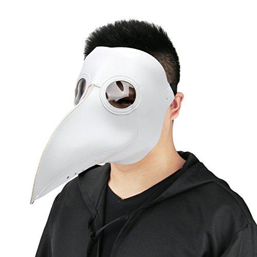 Cusfull Mscara de Cuervo con Pico de Imitacin Piel Disfraz de Plaga Doctor Antifaz de Terror para Halloween Steampunk Talla nica para Adulto - Blanco