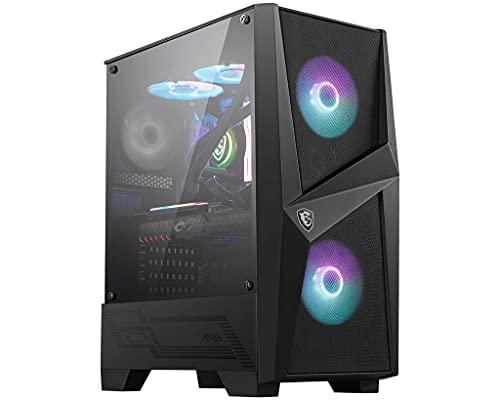 MSI MAG FORGE 100R Mid-Tower - Caja de PC Gaming, 2 x 120 mm ARGB + 1 x 120 mm Ventiladores Incluidos, Panel Cristal Templado, ATX, mATX, Mini-ITX, Negro