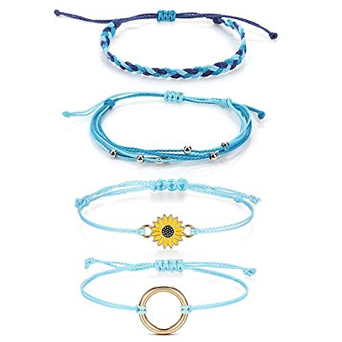 ASTER 4pcs Boho Friendship Wrap Bracelet Handmade Braided Anklet Bracelets String Rope Bracelets Sunflower Boho Colorful Surf Friendship Adjustable Jewellery Gift