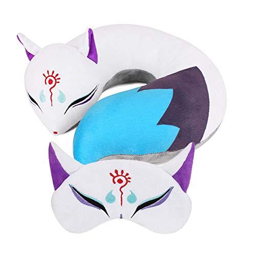 Fox Plush Neck U Shaped Pillow, Japanese Anime Stuffed Animal Body Travel Pillow, Sleeping Eye Mask