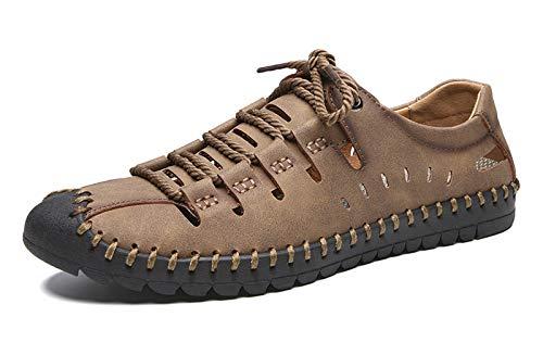 URVIP Herren Wandern Sandalen Atmungsaktiv Outdoor Sommer Spitzen Fischer Schuhe Geschlossener Toe Leder Strand Faule Schuhe Braun 43 EU