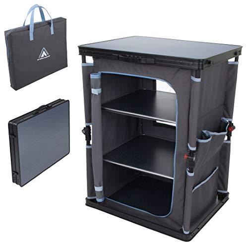 10T Campingschrank Flapbox 3 Fächer Schrank klappbare Campingküche Kofferschrank mit Faltmechanismus