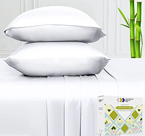 100% Pure Bamboo Sheets - Silky Soft Touch, Cool and Lightweight, 4 Piece Hotel Luxury Bedding Set, King Size Elasticized Deep Pocket for Snug Fit...
