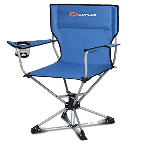 Goplus Swivel Camping Chair w/Cup Holder & Carrying Bag, Foldable 360-degree Free Rotation Chair for Fishing Picnic Hiking (Blue)