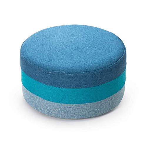 MMWYC Stockage Tabouret Repose-Pieds, Pouffe Ronde colorée Chaise rembourré Footchair Appartement Confortable Assise Accueil Canapé Tabouret Repose-Pieds (Color : Blue)