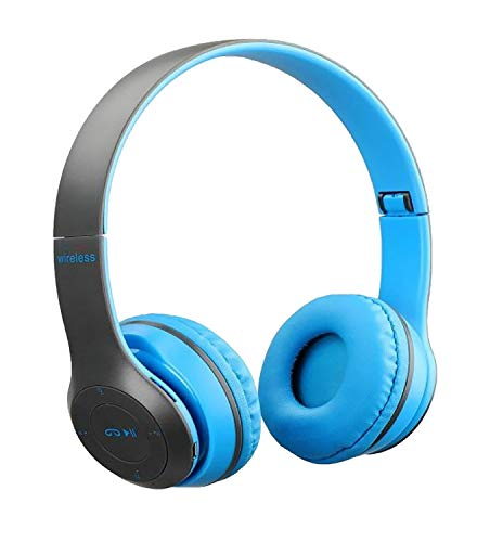 Aerizo P48 Over The Ear Wireless Bluetooth Gaming Headset with Mic   8 Hour Playtime   Deep Bass FM/AUX Cable & SD Card Support Connect All Mobiles/Laptops