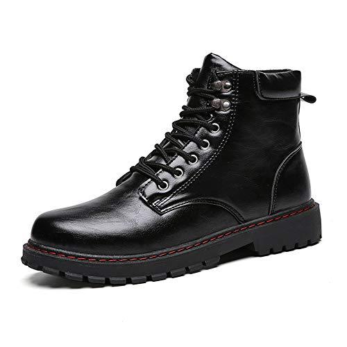 Lingqiqi Bota de Hombre Botas Altas de Tobillo Botas de Suela Martin y Botas de Trabajo de ejército Invierno (Color : Negro, tamaño : 42 EU)