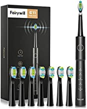 Electric Toothbrush, Fairywill Sonic Toothbrush ADA Accepted for Adults and Kids with 8 Bursh Heads, Ultra Cleaning 5 Modes 2 Hours Charging for 30 Days Use, E11 Black Rechargeable Power Toothbrush