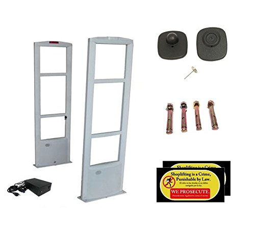 Starter Pack - EAS RF Anti Theft Retail Store Security Antenna System + 1000 Tags and Warning Stickers