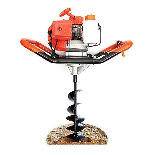 Excavadora de agujeros para postes de barrena a gas de 52 cc con broca de tierra de 4 pulgadas, máquina de perforación de tierra barrena de tierra para cercas y plantaciones(profundidad: 500-800 mm)
