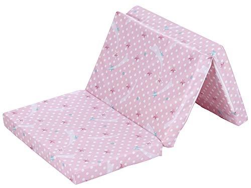 Alvi Matratze Baby Reisebett 60x120cm | Faltmatratze mit Tragetasche | Klappmatratze 6 cm dick | Baumwollbezug abnehmbar, atmungsaktiv, waschbar, schadstoffgeprüft, Design:Komet rosa