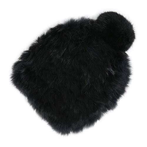 Anywow Damen Winter Kintted Beanie Mütze mit Faux Kaninchen Pom Pom luxuriöse warme Skifahren Mütze Cap Kappe für Frauen