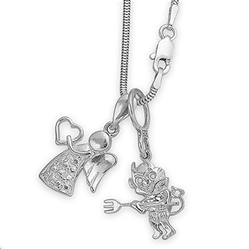 Silber Kette mit zwei Sterlingsilber Kettenanhänger Teufelchen & Schutzengel Engel Flügel Schmuckanhänger #1380
