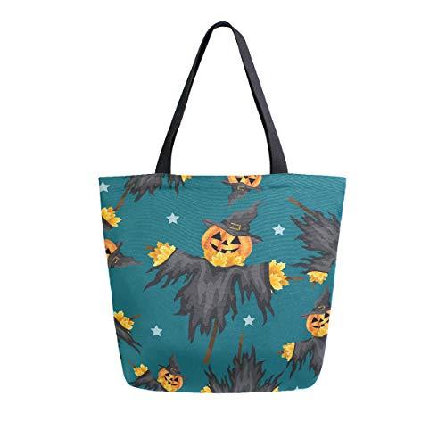 Naanle Kürbis Vogelscheuche Leinwand Tote Bag Large Women Casual Schultertasche Handtasche Halloween Wiederverwendbar Mehrzweck Heavy Duty Shopping Lebensmittel Baumwolle Tasche für Outdoor