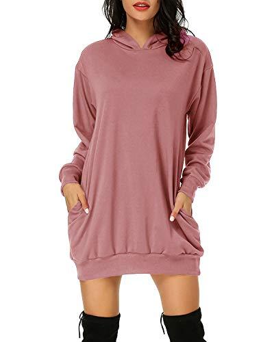 Auxo Damen Hoodie Kleid Pullover Langarm Sweatshirts Kapuzenpullover Tops Herbst Mini Kleid 01-Schmutziges Rosa XL