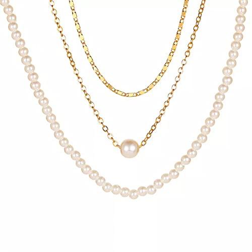 QiuYueShangMao Colgante de Collar Collares Redondos de Perlas para Mujer Elegante de múltiples Capas Cadena Larga de Color Dorado joyería Regalos para Fiestas Collar Regalo para Ella