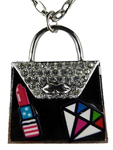 Halskette Kette Straße Stein silberfarben schwarz Lippenstift Comic Handtasche Tasche 1451