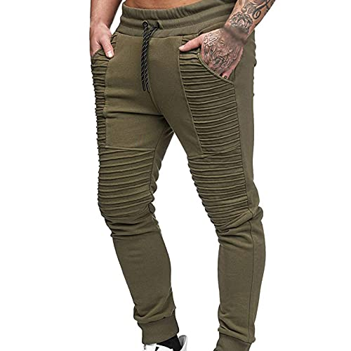 Pantalones de chándal para hombre, pantalones de deporte, pantalones de fitness, modelo de hip hop, pantalones sueltos, Verde militar., M