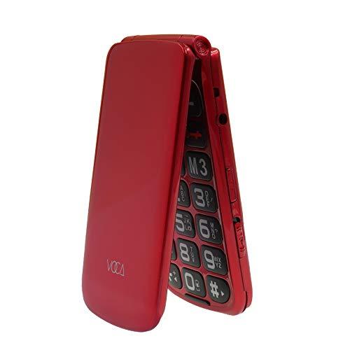 VOCA V330 3G Telefono Cellulare per Anziani con Tasti Grandi Clamshell Sbloccato SIM-Free Senior Flip cellulare, Funzione SOS rosso