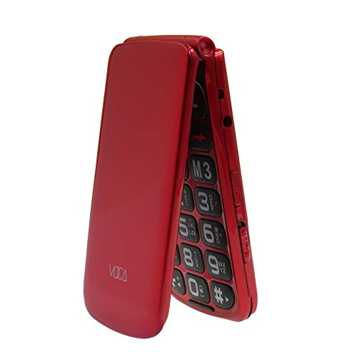 VOCA V330 3G Big Button Simple Easy to Use Clamshell Unlocked SIM-Free Senior Flip Mobile Phone, Red