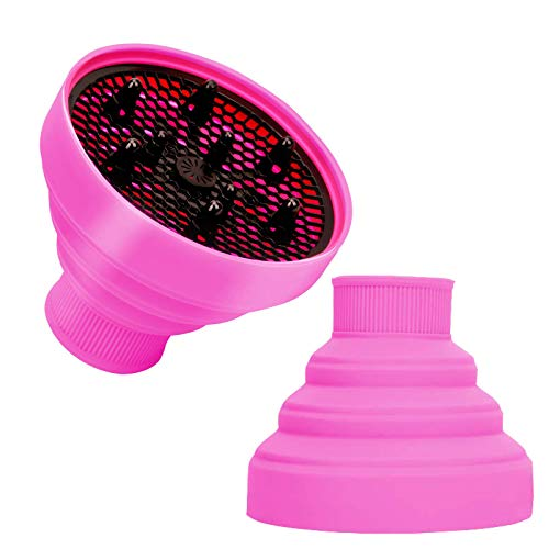 """Collapsible Silicone Diffuser, Hair Dryer Attachment for Curly Wavy Hair, Foldable Travel Friendly Suitable for Nozzle Diameter 1.575""""-1.968"""" (Pink)… (Diffuser Pink)"""