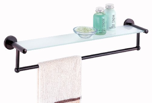 Organize It All Oil Rubbed Glass Shelf with Towel Bar