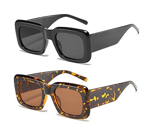Long Keeper Occhiali da Sole Donna Quadrati Vintage Oversize Occhiali Da Sole Grandi Moda Montature Rettangolari UV400 Protezione (Nero+Leopardo)