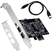 QNINE Tarjeta Firewire, adaptador PCIe Firewire 800 para Windows 10 con soporte y cable de perfil bajo, 3 puertos (2 x 6 pines y 1 x 4 pines) Tarjeta controladora PCI Express IEEE 1394 para Windows 7