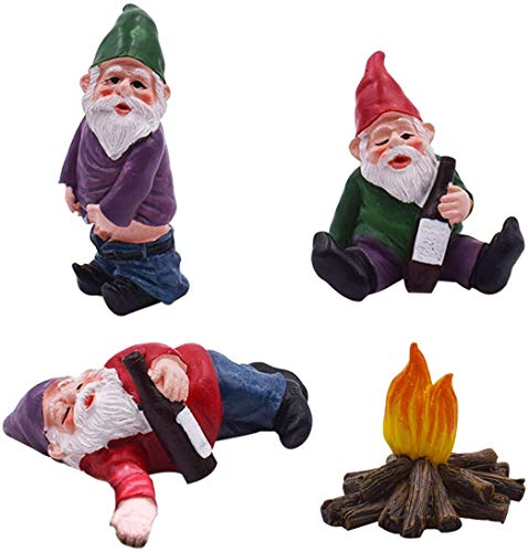 AOXING 4PCS Cute Fairy Garden Accessories Decorations - Collectible Figurines,Fairy Gnome,Garden Gnomes Ornaments, for Dollhouse,Garden,Desk and Plant Decoration Little Friend Fairy Garden